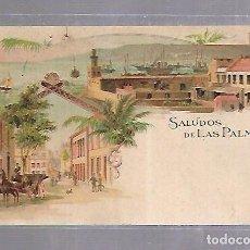 Postales: TARJETA POSTAL DE LAS PALMAS - SALUDOS DESDE LAS PALMAS. KUNZLI FRERES. Nº 673. Lote 115689099