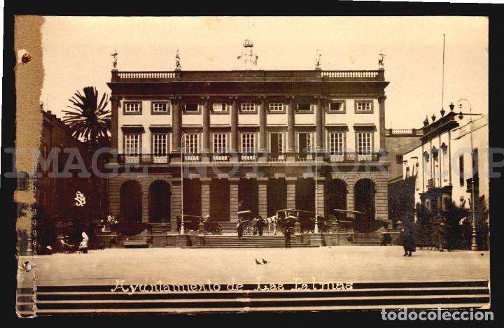 AYUNTAMIENTO LAS PALMAS TARJETA POSTAL FOTOGRAFICA CA1900 ED. JUAN BONNET (Postales - España - Canarias Antigua (hasta 1939))
