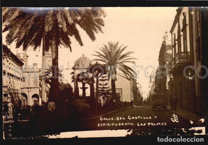 CALLE DEL CASTILLO AUTO MULA LAS PALMAS TARJETA POSTAL FOTOGRAFICA CA1900 ED. JUAN BONNET (Postales - España - Canarias Antigua (hasta 1939))