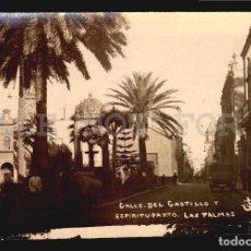 Postales: CALLE DEL CASTILLO AUTO MULA LAS PALMAS TARJETA POSTAL FOTOGRAFICA CA1900 ED. JUAN BONNET. Lote 117537151