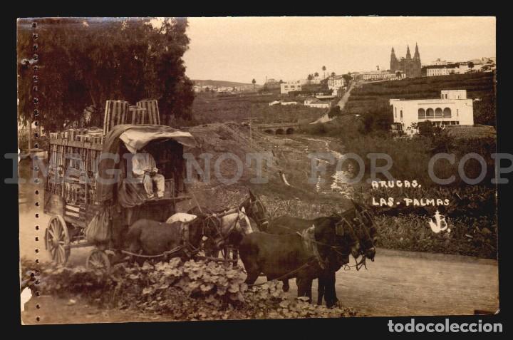 ARUCAS CARRUAJE CABALLOS LAS PALMAS TARJETA POSTAL FOTOGRAFICA CA1900 ED. JUAN BONNET (Postales - España - Canarias Antigua (hasta 1939))