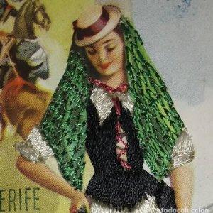 TENERIFE Postal bordada con hilo traje típico Tenerife Ediciones C.D.R. Regionales nº10 J.Briones