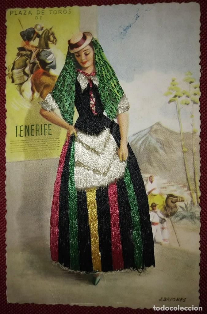 Postales: TENERIFE Postal bordada con hilo traje típico Tenerife Ediciones C.D.R. Regionales nº10 J.Briones - Foto 2 - 118033571