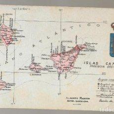Postales: POSTAL ANTIGUA MAPA CANARIAS, ALBERTO MARTIN ATLAS GEOGRAFICO Nº 51, NO ESCRITA ...N OFERTA SOLO HOY. Lote 125419907