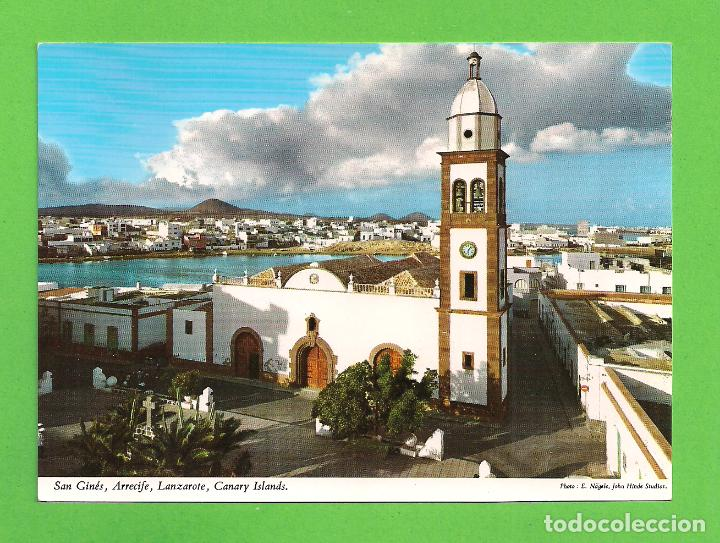 POSTAL - VISTA PARCIAL E IGLESIA DE SAN GINES DE ARRECIFE - LANZAROTE - (Postales - España - Canarias Moderna (desde 1940))