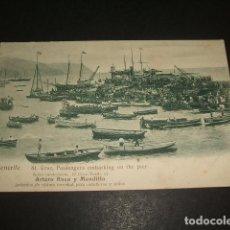 Postales: SANTA CRUZ DE TENERIFE PASSENGERS EMBARKING ON THE PIER PUBLICIDAD ARTURO ROCA SALON MODERNISTA . Lote 138768362