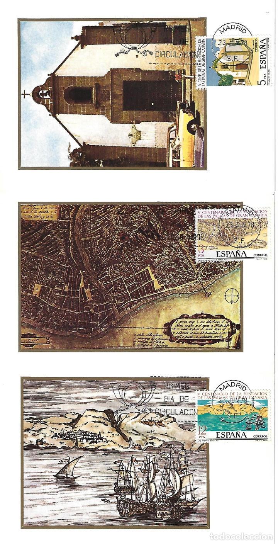LAS PALMAS DE GRAN CANARIA - LOTE DE 3 POSTALES Y SELLOS TARJETAS MÁXIMAS - Vº CENTENARIO FUNDACIÓN (Postales - España - Canarias Moderna (desde 1940))