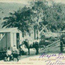 Postais: SALUDO DE LAS PALMAS. CARRETERA DE TAFIRA. CIRCULADA EN 1904. PIEZA ÚNICA.. Lote 146286982