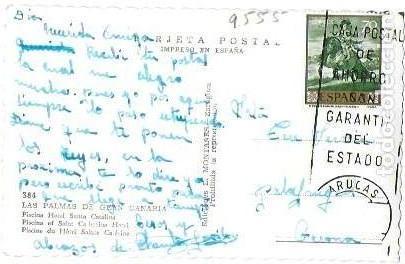 Postales: P- 9004. POSTAL LAS PALMAS GRAN CANARIA, PISCINA HOTEL SANTA CATALINA. - Foto 2 - 146984674