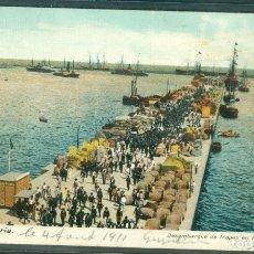Postales: GRAN CANARIA DESEMBARQUE TROPAS PUERTO DE LA LUZ 1911. Lote 151653450