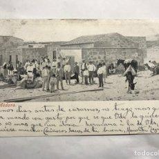 Postales: MEDANO GRANADILLA DE ABONA (TENERIFE) POSTAL ANIMADA GRUPO DE PERSONAS CON MULAS Y CAMELLOS (A.1924). Lote 156282261