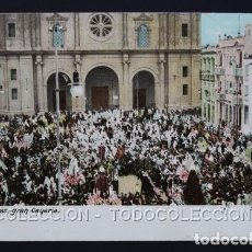 Postales: POSTAL LAS PALMAS GRAN CANARIA SEMANA SANTA . FRANQUEO MIXTO GIBRALTAR . CA AÑO 1900. Lote 156535166