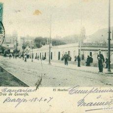 Cartes Postales: SANTA CRUZ TENERIFE. EL MUELLE. CIRCULADA EN 1907 DESDE LOS REALEJOS.. Lote 162903154