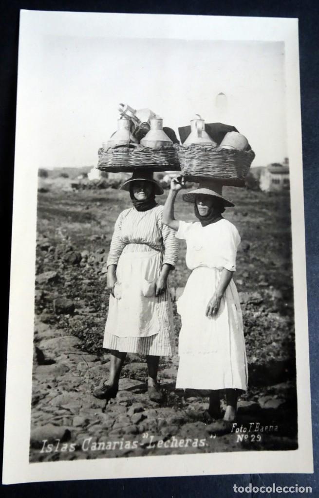 ANTIGUA POSTAL DE LAS CANARIAS, LECHERAS, FOTOGRAFÍA F.BAENA, VER FOTOS (Postales - España - Canarias Antigua (hasta 1939))