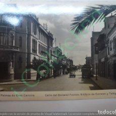 Postales: POSTAL. 12. LAS PALMAS DE GRAN CANARIA. CALLE DEL GENERAL FRANCO. EDIFICIO DE CORREOS Y TELÉGRAFOS. . Lote 167797800