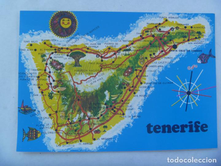 POSTAL DE TENERIFE ( ISLAS CANARIAS ): MAPA DE LA ISLA. AÑOS 60 (Postales - España - Canarias Moderna (desde 1940))