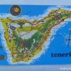 Postales: POSTAL DE TENERIFE ( ISLAS CANARIAS ): MAPA DE LA ISLA. AÑOS 60. Lote 170224440