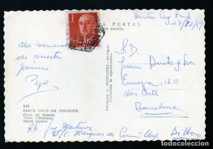 Postales: Postal Fotografica de Sta.Cruz de Tenerife Pza. España años 50 curioso matasellos aereo - Foto 2 - 172113259