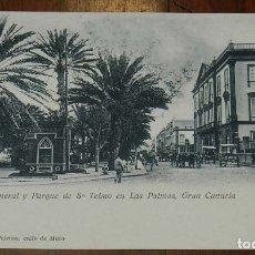 Postales: POSTAL DE LAS PALMAS DE GRAN CANARIA, CAPITANIA GENERAL Y PARQUE DE SAN TELMO 1902. NO CIRCULADA. SI. Lote 173364563