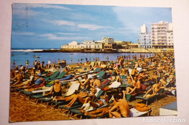 POSTAL LAS PALMAS DE G.CANARIA -PLAYA LAS CANTERAS -CIRCULADA (Postales - España - Canarias Moderna (desde 1940))