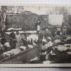 Postales: TENERIFE, 64. TYPICOS DEL PAÍS. LAVANDERA EN LA OROTAVA POSTAL FOTOGRÁFICA. SIN CIRCULAR. Lote 179248901