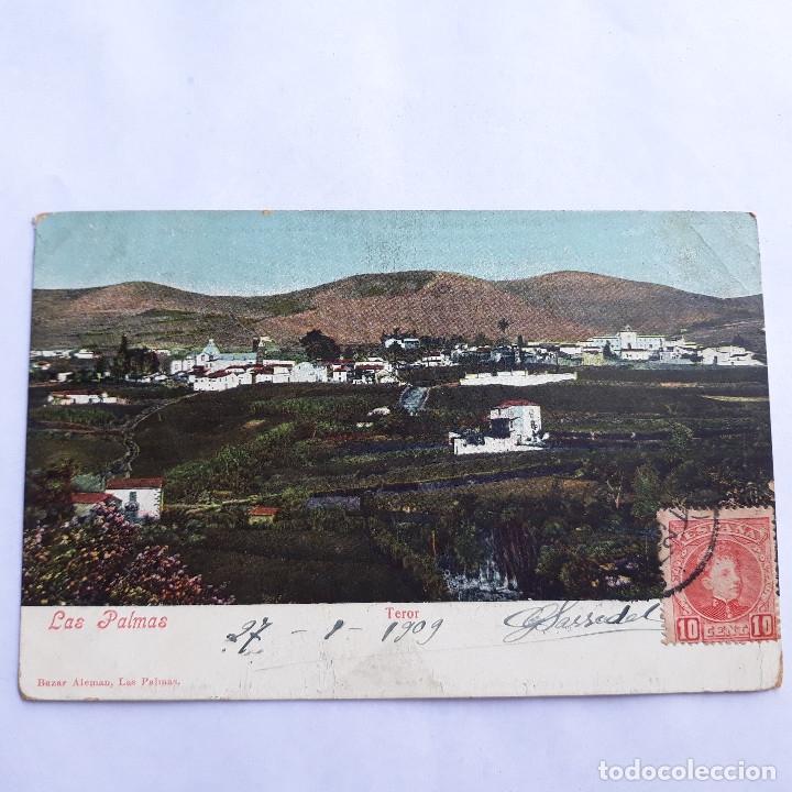 TEROR. LAS PALMAS. BAZAR ALEMÁN. CIRCULADA. (Postales - España - Canarias Antigua (hasta 1939))