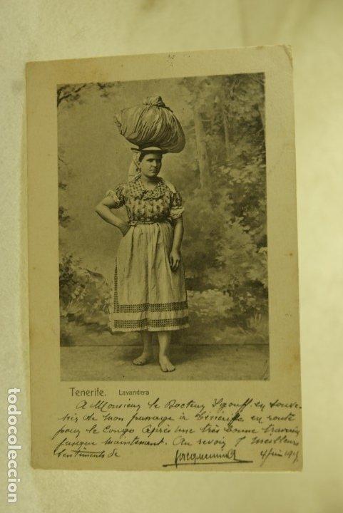Postales: TENERIFE LAVANDERA 1915 ESCRITA Y FRANQUEADA - Foto 2 - 181335555