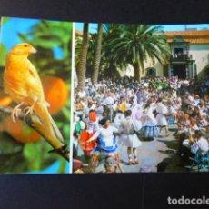 Postales: LAS PALMAS DE GRAN CANARIA BAILES TIPICOS EN EL PUEBLO CANARIO. Lote 186181318
