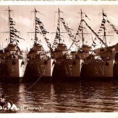 Postales: SANTA CRUZ DE LA PALMA CANARIAS BUQUES DE GUERRA 1929 POSTAL FOTOGRÁFICA. Lote 187406605