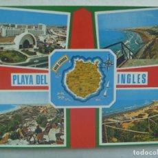 Postales: POSTAL DE LAS ISLAS CANARIAS : PLAYA DEL INGLES. Lote 187449598