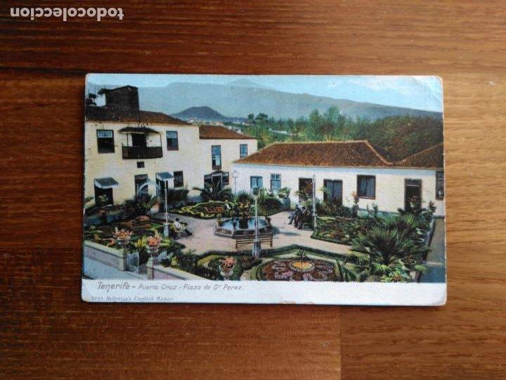 TARJETA POSTAL TENERIFE - 3224 PUERTO CRUZ - PLAZA DR. PEREZ - NOBREGA´S ENGLISH BAZAR (Postales - España - Canarias Antigua (hasta 1939))