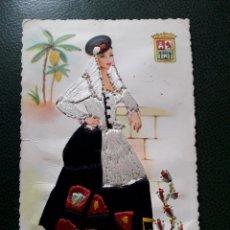 Postales: POSTAL GRAN CANARIA BORDADA CON HILO ANTIGUA TRAJE TIPICO. Lote 194204182