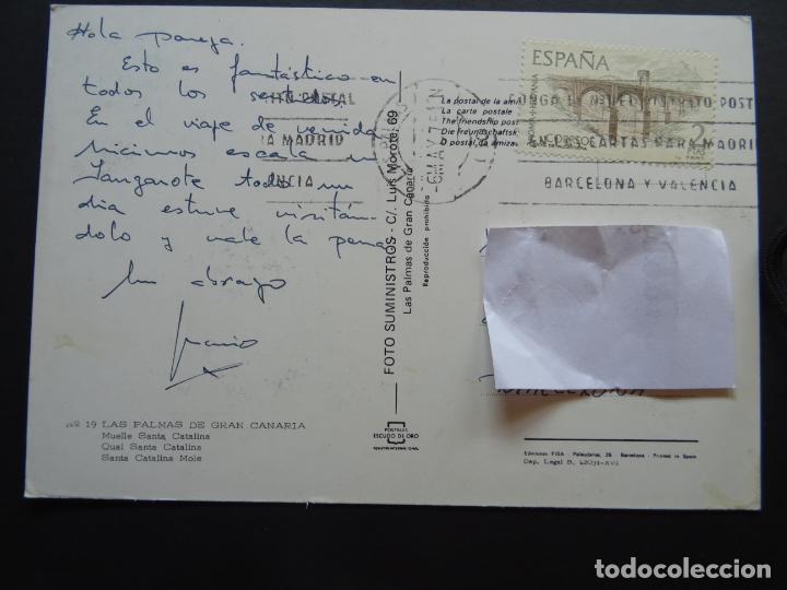 Postales: Las Palmas de Gran Canaria, Muelle de Santa Catalina, postal circulada de los años 70 - Foto 2 - 194215031