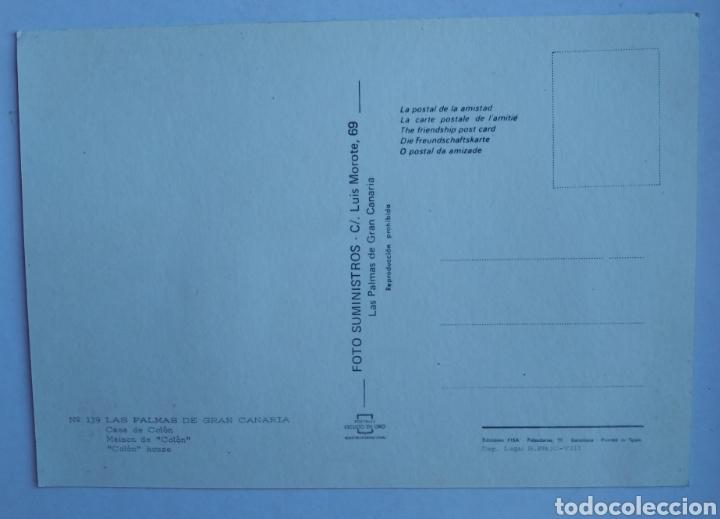 Postales: Postal 139 las palmas de gran canaria casa de colon escudo de oro - Foto 2 - 195332865