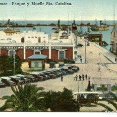 Postales: LAS PALMAS-PARQUE Y MUELLE STA. CATALINA-COCHES-RODRIGUES BROS. Lote 196337225