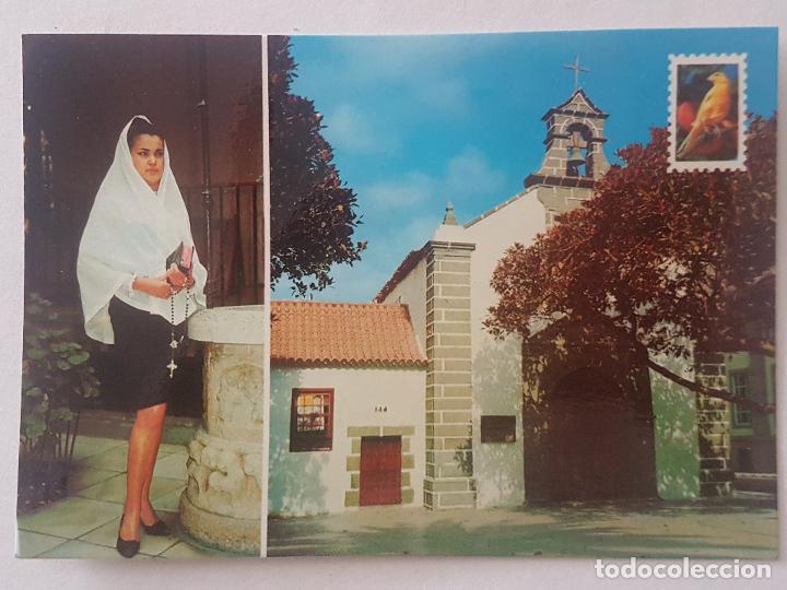 SAN TELMO LAS PALMAS CANARIAS IGLESIA Y DEVOTA POSTAL (Postales - España - Canarias Antigua (hasta 1939))