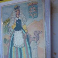 Postales: POSTAL DE CANARIAS BORDADA. TRAJE TIPICO. AOS 50. Lote 199879782