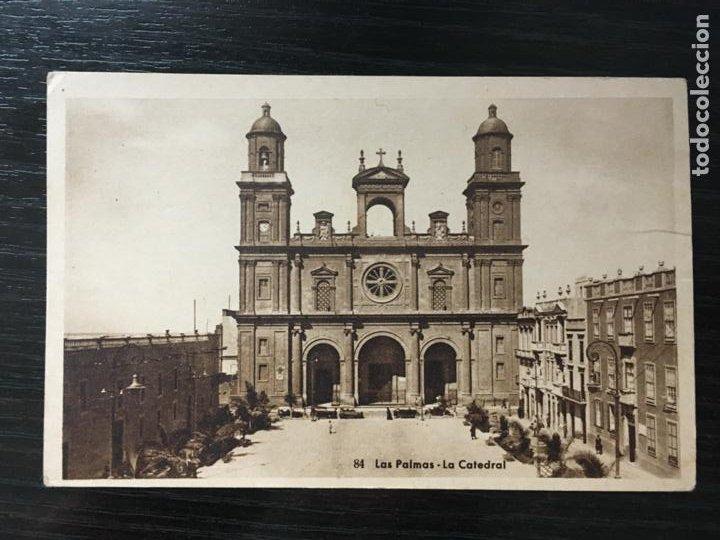 LAS PALMAS DE GRAN CANARIA POSTAL LA CATEDRAL - BAZAR ALEMÁN (Postales - España - Canarias Antigua (hasta 1939))