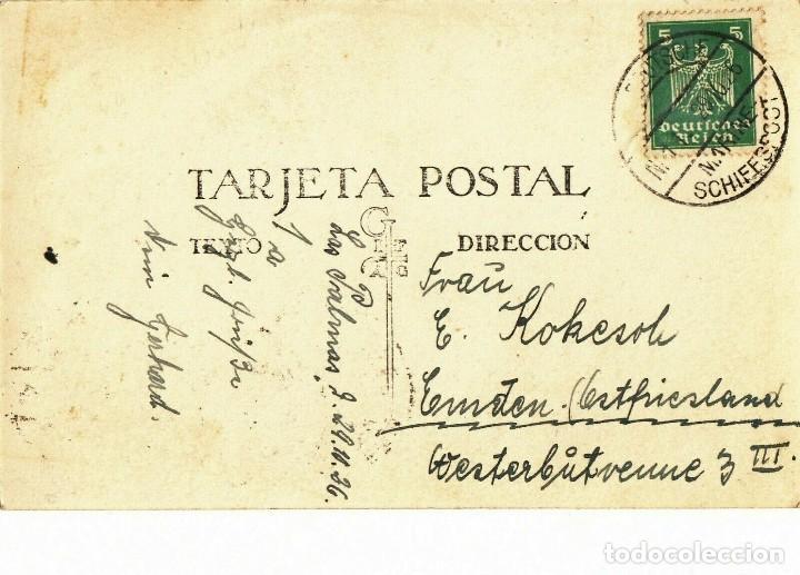 Postales: POSTAL ISLAS CANARIAS, LECHERAS F. BAENA 29, ENVIADA DE LA MARINA ALEMANA 1926, FRANQUEO MIXTO REICH - Foto 2 - 210635537