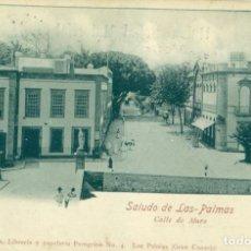 Postales: SALUDO DE LAS PALMAS. CALLE DE MURO. PUBLICIDAD HOTEL LA UNIÓN. CIRCULADA EN 1901.. Lote 218029546