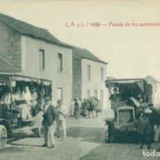 Postais: GRAN CANARIA. LAS PALMAS. PARADA DE LOS AUTOMÓVILES EN TELDE. H. 1910. MUY RARA.. Lote 233911555