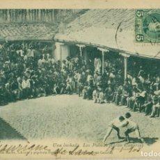 Postais: LAS PALMAS. UNA LUCHADA. CIRCULADA EN 1903 A BÉLGICA. MUY RARA.. Lote 238513245