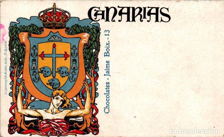 CANARIAS CHOCOLATES JAIME BOIX RARA TARJETA PUBLICITARIA (Postales - España - Canarias Antigua (hasta 1939))