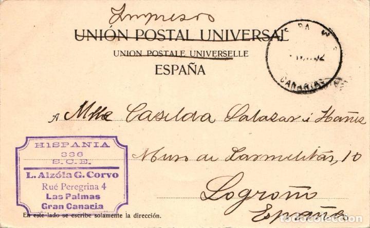 Postales: CANARIAS LAS PALMAS BANANAS POSTAL ANTIGUA AÑO 1902 - Foto 2 - 239353500