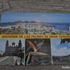 Postales: POSTAL SOUVENIR DE LAS PALMAS DE GRAN CANARIAS CON SELLO Y MATASELLOS AÑOS 70. Lote 246312130