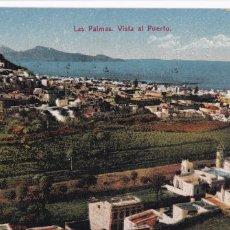 Cartes Postales: LAS PALMAS DE GRAN CANARIA, VISTA AL PUERTO. ED. FOTOGRAFIA ALEMANA. BYN COLOREADA. SIN CIRCULAR. Lote 258038165