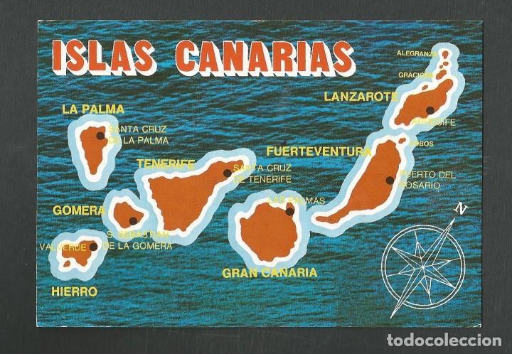 POSTAL SIN CIRCULAR MAPA ISLAS CANARIAS 1081 EDITA GLOBAL TRADERS (Postales - España - Canarias Moderna (desde 1940))