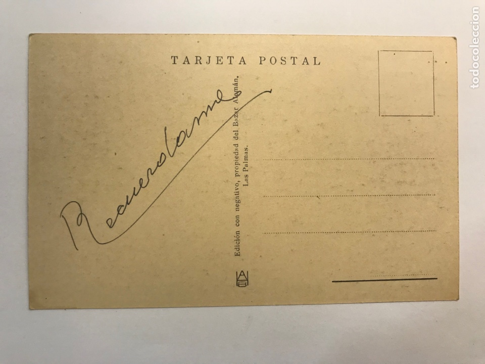 Postales: LAS PALMAS, Postal No.70, Un platanar. Edic., Bazar Alemán (h.1940?) S/C - Foto 2 - 262135545