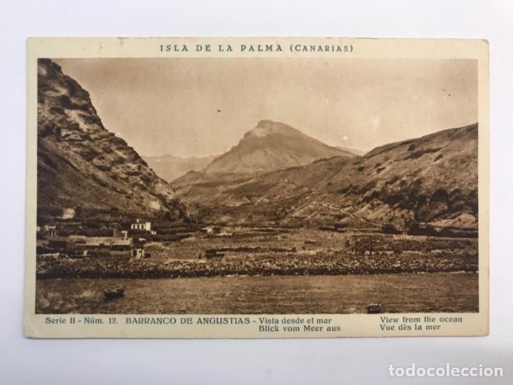 ISLA DE LA PALMA (CANARÍAS) POSTAL SERIE II, NO.12, BARRANCO DE ANGUSTIAS. VISTA DESDE EL MAR (Postales - España - Canarias Antigua (hasta 1939))