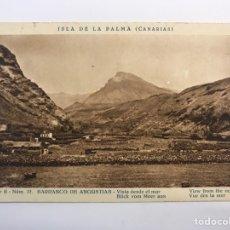 Postales: ISLA DE LA PALMA (CANARÍAS) POSTAL SERIE II, NO.12, BARRANCO DE ANGUSTIAS. VISTA DESDE EL MAR. Lote 262142965